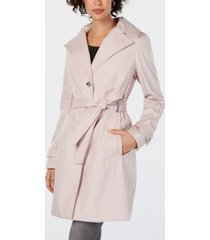 calvin klein petite belted hooded water resistant trench coat, created for macys