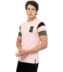 camiseta  combinada en mangas palo rosa manpotsherd francia