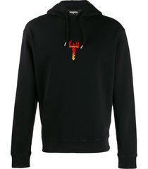 dsquared2 flame key hoodie - black