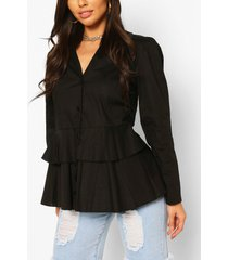 cotton ruffle peplum shirt, black