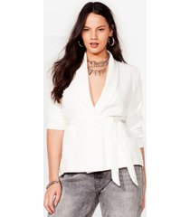 womens play it smart plus belted blazer - ivory