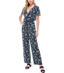 kingston grey juniors' ruffled floral-print jumpsuit