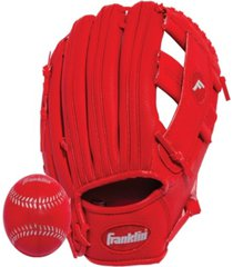 "franklin sports 9.5"" rtp performance teeball glove and ball combo - left handed thrower"