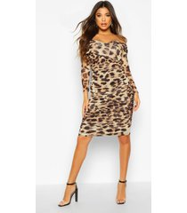 leopard off shoulder ruched mesh bodycon midi dress, brown