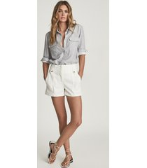 reiss alana - cotton cargo shorts in white, womens, size 12
