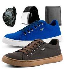 kit 2 pares de sapatênis dhl masculino azul e marrom + relógio + cinto e carteira