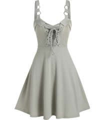 pure color o-ring lace up cami a line dress