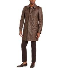 tallia men's faux snakeskin trench coat