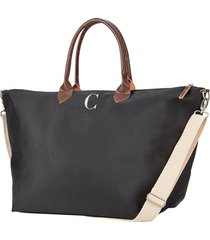 cathy's concepts monogram oversized tote - black
