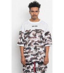 t-shirt oversize white camo mesh giant tee
