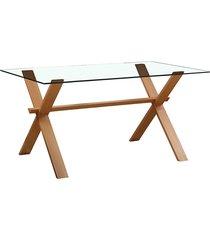 mesa nolina g base clara e vidro rivatti móveis bege