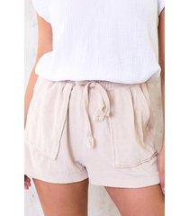 velours shorts met zakken beige