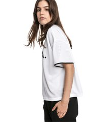 chase mesh t-shirt voor dames, wit, maat l | puma