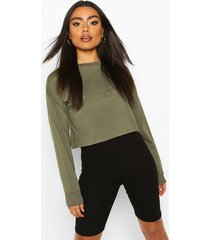 cotton long sleeve cropped top, khaki