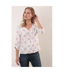 camisa decote v manga 3/4 viscose cardume ervadoce feminina