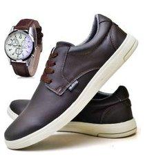 tênis sapatênis casual fashion com relógio masculino dubuy 1401el marrom