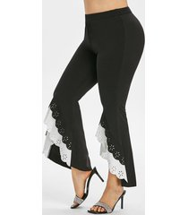 laser cut tiered high low hem plus size flare pants