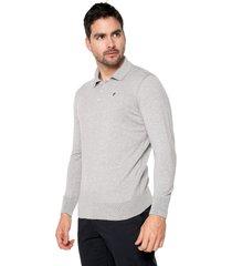 sweater gris 103 preppy m/l tejido delgado cuello polo