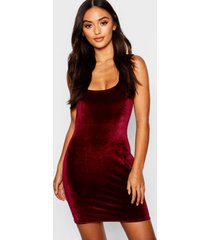 petite velvet square neck bodycon dress, wine