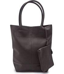 bolso con costuras y cosmetiquera color negro, talla uni