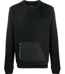 les hommes mesh panel asymmetric sweatshirt - black