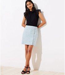 loft linen blend side button shift skirt
