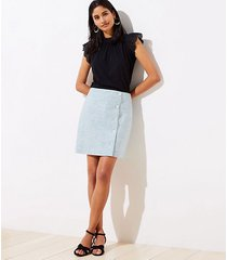 loft linen blend side button shift skirt