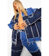 spijkerjas met patches, mid blue