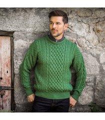 men's traditional merino wool aran sweater green large