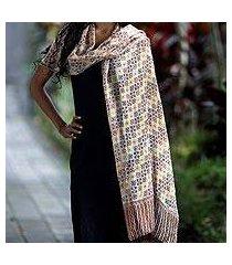 silk batik shawl, 'golden lotus floral' (indonesia)