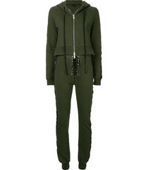 unravel project terry b hoodie jumpsuit - green