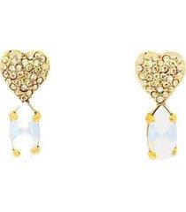 brincco armazem rr bijoux coração com cristais swarovski dourado - feminino