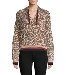 leopard-print cotton-blend hoodie