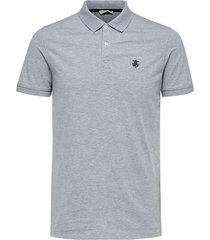 selected homme heren poloshirt licht stretch pique slim fit grijs