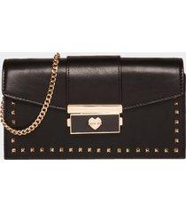 motivi portafoglio pochette con borchie e tracolla donna nero