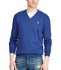 sweater slim fit cotton v-neck azul polo ralph lauren
