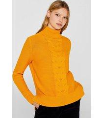 sweater de cuello vuelto con diseño trenzado mostaza esprit