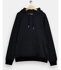 mens monogram navy print pull over hoodie