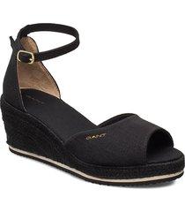 wedgeville plateau sandal sandalette med klack espadrilles svart gant