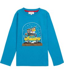 marc jacobs blue long-sleeved cotton t-shirt with print