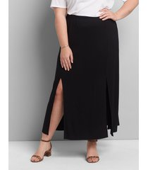 lane bryant women's double-slit maxi skirt 18/20 black