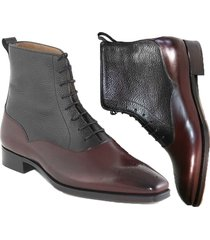 handmade men's maroon black two tone ankle boots, mens fashion party dress boot