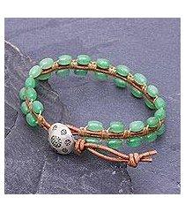 quartz and leather beaded bracelet, 'pa sak valley' (thailand)