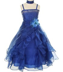royal blue long crystal organza numerous ruffles bridesmaid flower girl dress