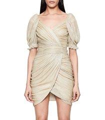 jonathan simkhai women's nina plisse faux-wrap mini dress - gold - size 2