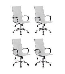 conjunto com 4 cadeiras de escritório presidente giratórias eames best branco