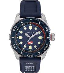 nautica men's naptds902 tarpoon diver blue/silver silicone strap watch