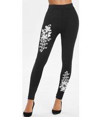 flower lace panel skinny leggings