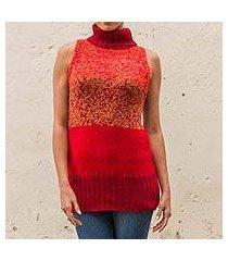 100% alpaca sweater vest, 'crimson wonder' (peru)