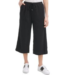 calvin klein wide-leg cropped cotton pull-on pants